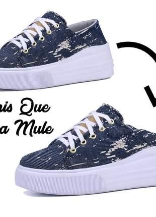 Tênis jeans feminino plataforma que vira mule lançamento