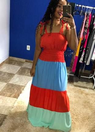 Vestido longo lastex tricolor viscolinho alcinha