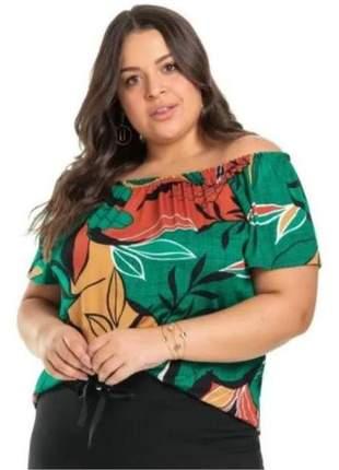 Blusa feminina ciganinha plus size estampada