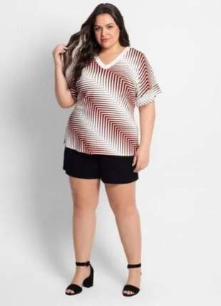Blusa moda plus size feminina tendência listrada geometrica