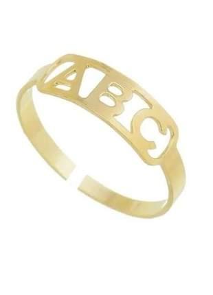 Anel regulável abc infantil banhado a ouro - anel formatura