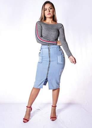Saia jeans com zíper e laço