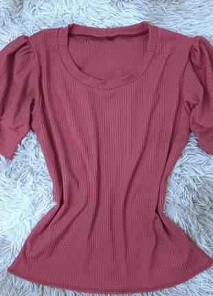 Blusa blusinha feminina canelada manga bufante evangélica