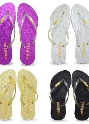 Kit 11 pares chinelo melissa glitter atacado