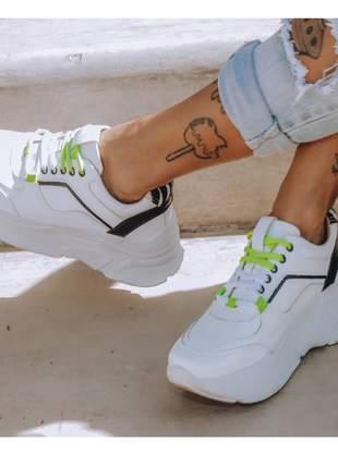Tênis feminino sneaker griffe alta casual em couro branco