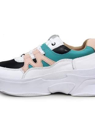 Tênis preto de griffe feminino chunky sneaker solado alto