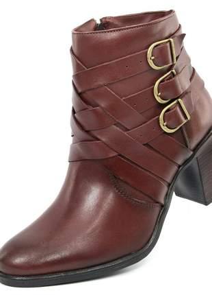 Bota bico redondo feminina fashion scarpin coturno salto grosso ref 9031