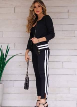 Conjunto feminino de blusa de manga longa e calça matelassê