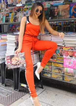 Conjunto feminino de calça e blusa de moletinho com elastano