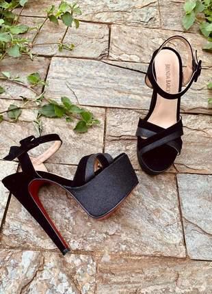 Sandalia feminina preta salto alto 15 meia pata sola vermelha lançamento