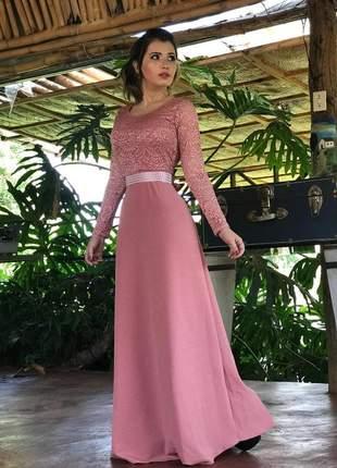 Vestido longo rosé - coleção festa