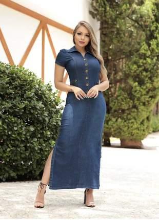 Vestido longo jeans com fenda e botões manga curta feminino