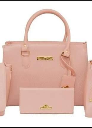 Kit bolsa feminina conjunto com 4 peças lindo