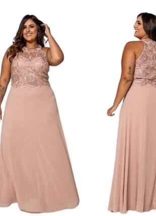 Vestido plus size de festa madrinha casamento mãe dos noivos formatura bordado cores
