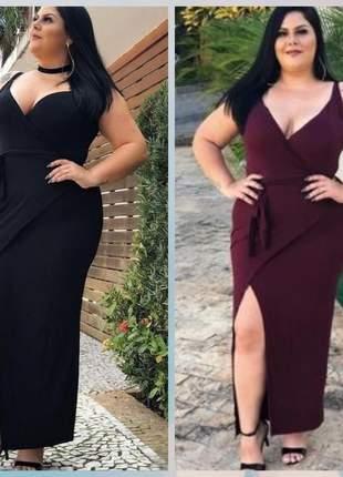 Vestido longo envelope modelo plus sise