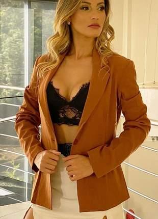 Blazer casaco casaquinho maxi max feminino alfaiataria acinturado slim alongado