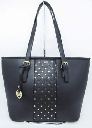 Bolsa feminina preta grande ombro com aplicações em tachastote shopper gash