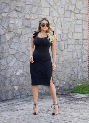 Vestido midi preto com babadinhos na alça