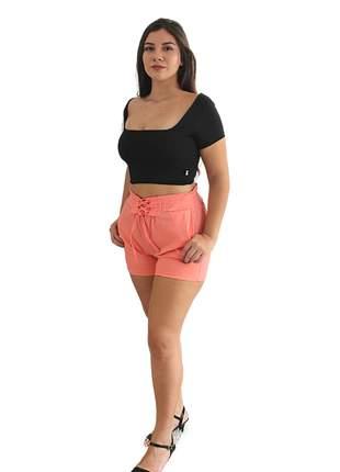 Conjunto feminino croped e short verão conforto cores variadas neon reveillon ano novo