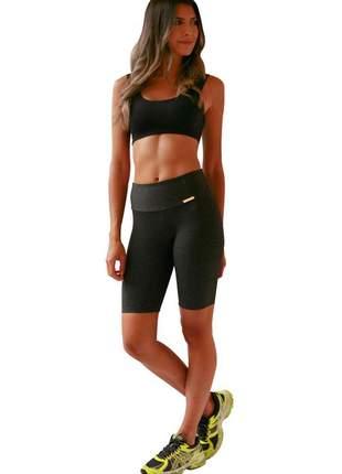 Bermuda ciclista feminina cinza/mescla escura
