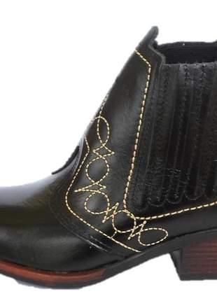 Bota country cor preta couro legitimo solado costurado salto carrapeta
