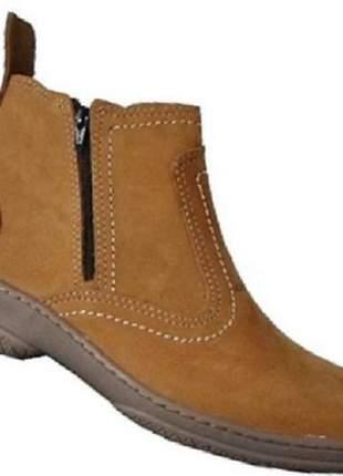 Bota cor amarela botina com ziper botinha em couro legitimo