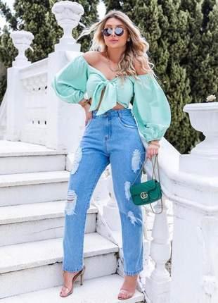 Calça jeans feminina mom destroyed rasgada cintura alta