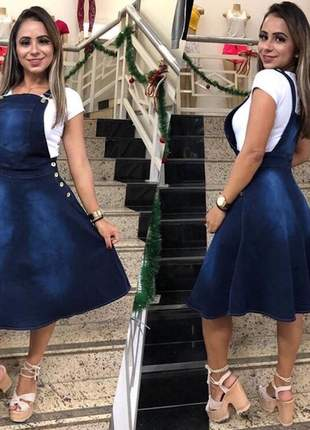 Jardineira midi jeans gode moda evangelica cristã igreja comportado