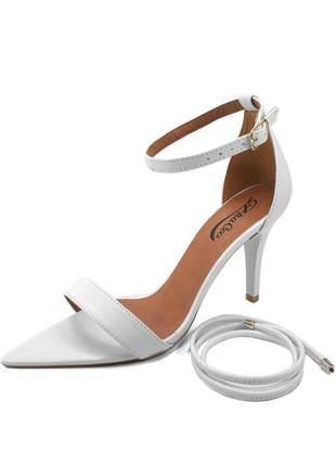 Sandália bico folha branco zhaceci