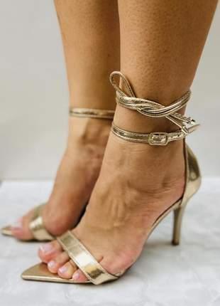 Sandália bico folha dourado zhaceci