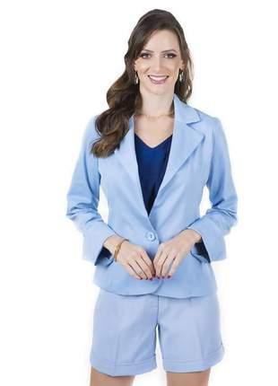 Blazer alfaiataria feminino acinturado azul - 05915