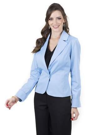 Blazer feminino casual azul  com um botão azul- 05913