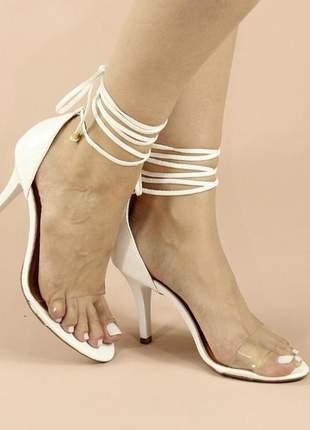 Sandália branca de amarrar zhaceci