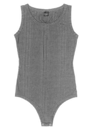 Body feminino casual básico cinza
