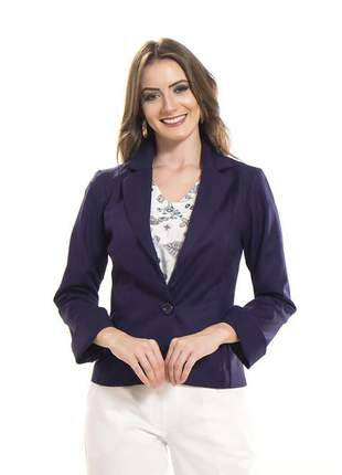 Compartilhar:  blazer feminino forrado acinturado manga longa navy - 05751