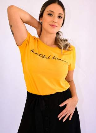 Blusa feminina t shirt manga curta amarelo