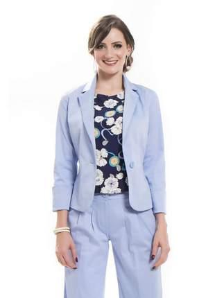 Blazer feminino acinturado color manga dobrada azul - 05728