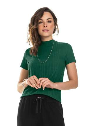 Blusa canelada gola alta feminina verde
