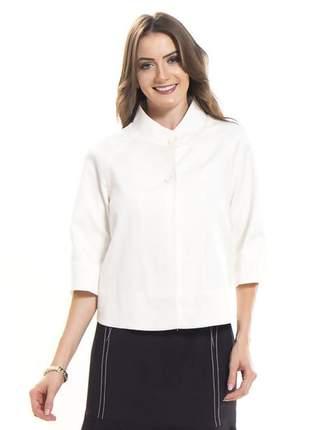 Blazer feminino manga curta soltinha em piquet cru - 05740