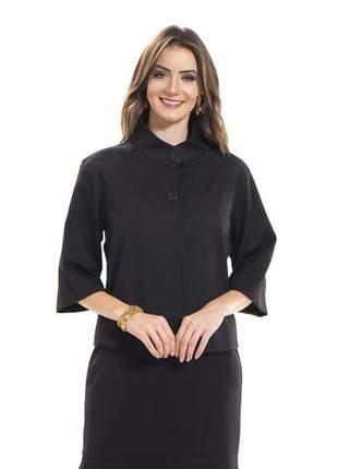Blazer feminino manga curta soltinha em piquet preto- 05740