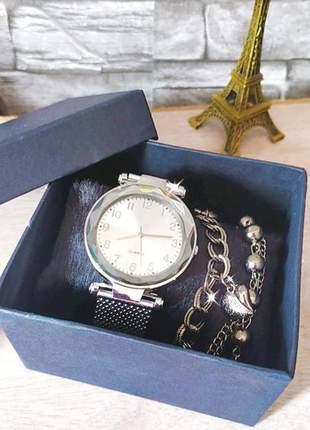 Relógio analógico kit com pulseira e caixinha