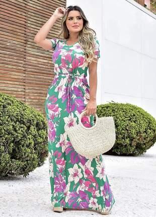 Vestido longo soltinho floral estampado moda evangélica casual