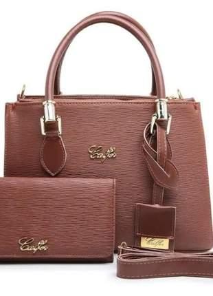 Bolsa feminina kit conjunto 3 peças varias cores luxo lindas