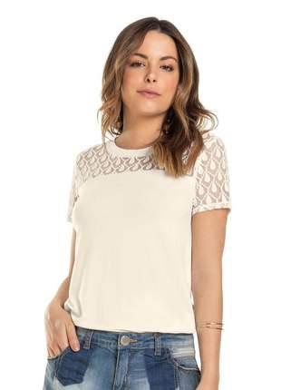 Blusa feminina com mix de renda branco 61499250