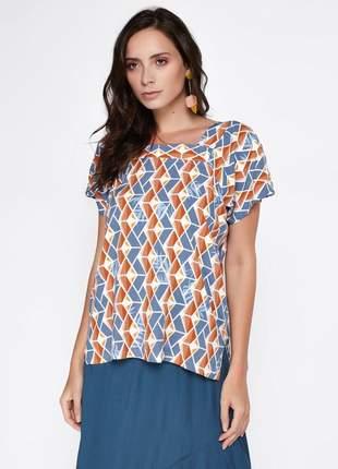 Blusa decote quadrado viscose estampada azul- 06041