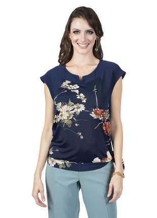 Blusa de malha feminina estampada azul marinho - 11538