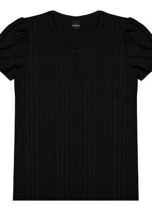 Blusa canelada gola v feminina preto 6152255