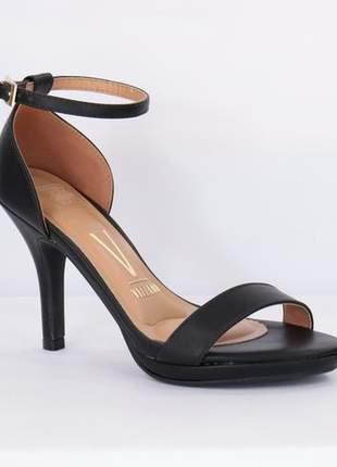 Sandália feminina casual clássica salto fino  vizzano