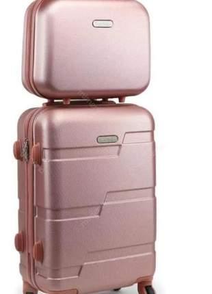 Kit mala de viagem com rodinhas e frasqueira dream rose gold
