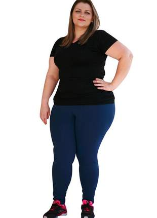 Legging feminina plus size azul marinho